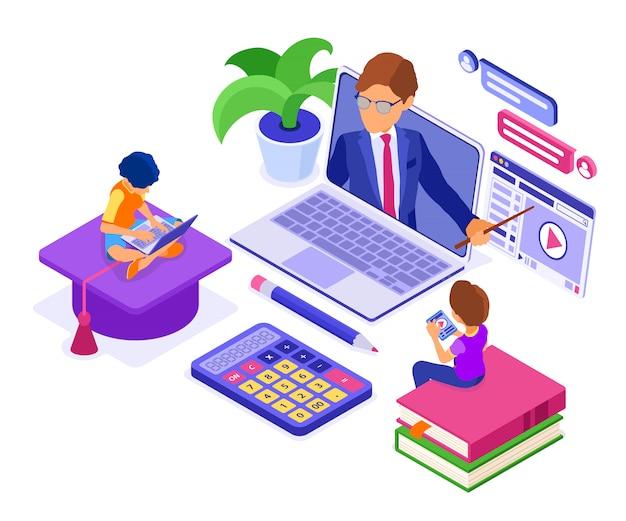 Educación a distancia en línea desde casa Vector Premium