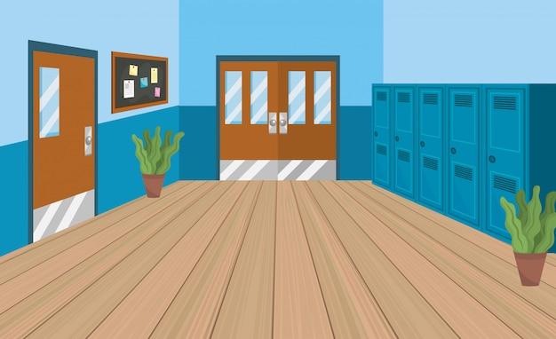 Educacion escolar con lockers y aulas con noteboard. vector gratuito