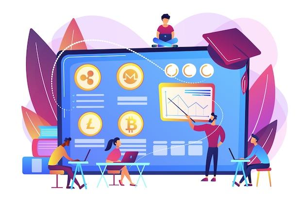 Educación financiera, escuela de comercio electrónico. cursos de comercio de criptomonedas, academia de comercio de criptomonedas, aprenda a intercambiar el concepto de criptomonedas. vector gratuito