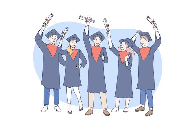 Educación, graduación, premiación Vector Premium