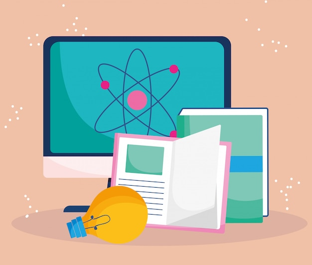 Educación en línea, clase de aprendizaje de libros de computadora | Vector  Premium