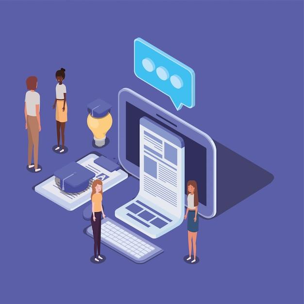 Educación en línea con computadoras de escritorio y mini personas Vector Premium