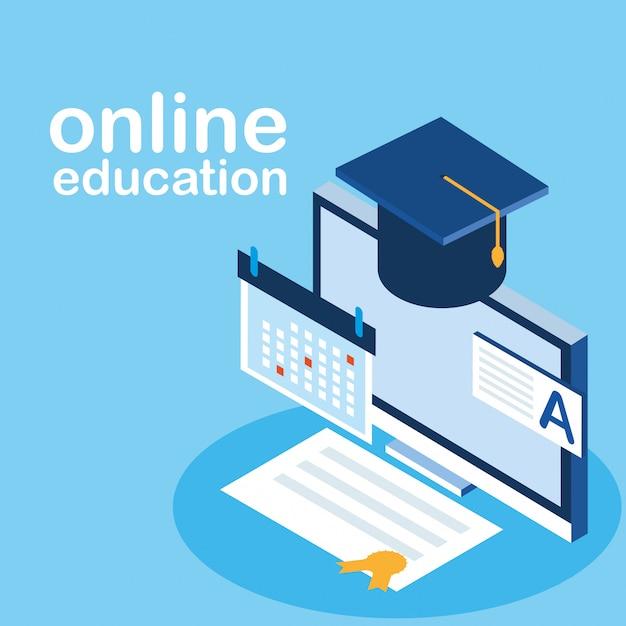 Educación en línea con escritorio Vector Premium