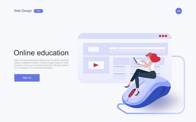 Educación en línea, formación y cursos, aprendizaje. Vector Premium
