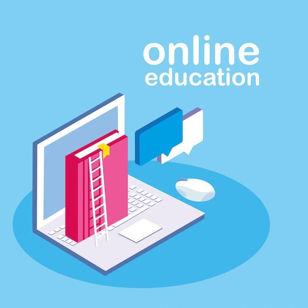Educación en línea con laptop Vector Premium