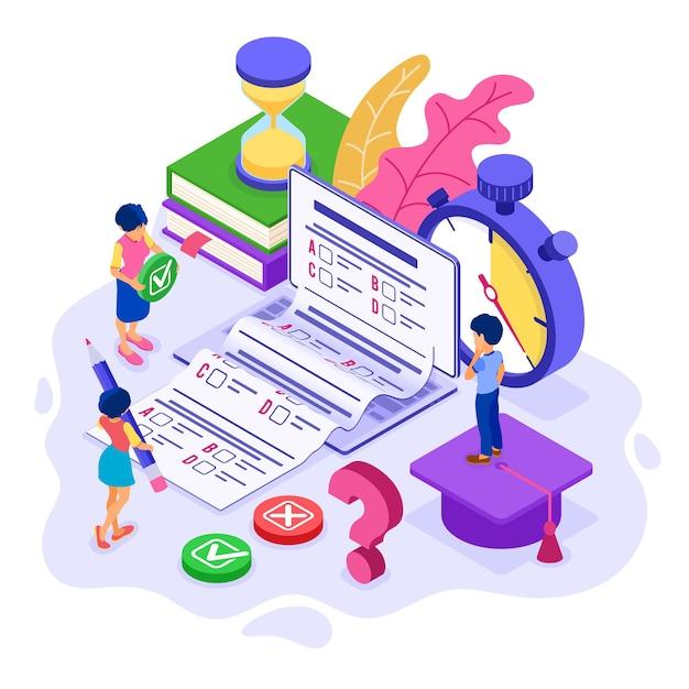 Educación en línea o prueba de examen a distancia con curso de internet de carácter isométrico e-learning desde el hogar niña y niño examinando y probando en una computadora portátil Vector Premium
