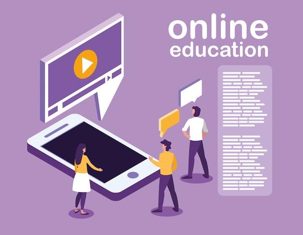 Educación en línea con teléfono inteligente y mini personas Vector Premium
