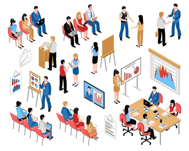 Educación de negocios y coaching conjunto de iconos isométricos vector gratuito
