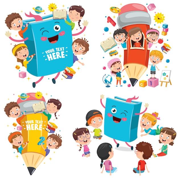 Educación con niños divertidos Vector Premium