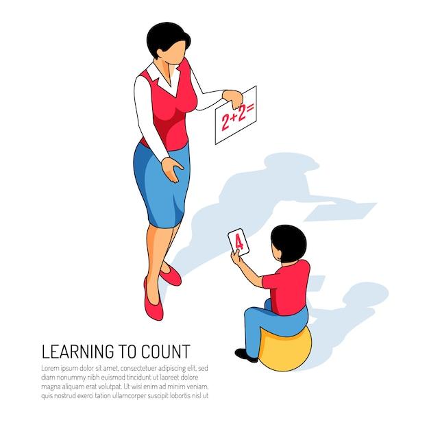 Educador y niño en la pelota durante el aprendizaje del conteo en el jardín de infantes en blanco isométrico vector gratuito