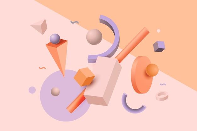 Efecto 3d de formas geométricas abstractas vector gratuito