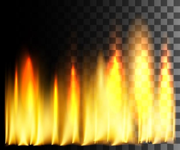 Efecto abstracto de fuego amarillo sobre fondo transparente. Vector Premium