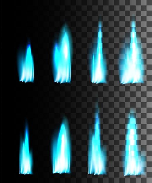 Efecto abstracto de fuego azul sobre fondo transparente. Vector Premium