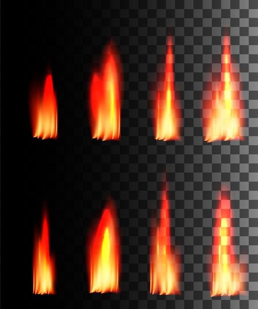 Efecto abstracto de fuego rojo sobre fondo transparente. Vector Premium