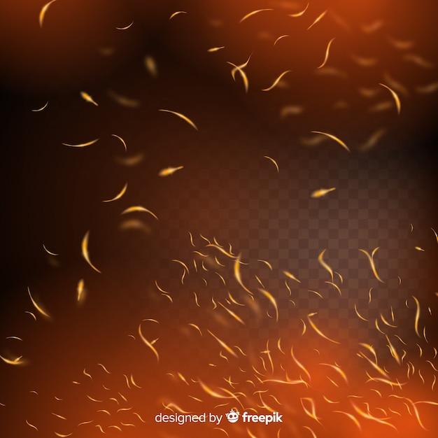 Efecto de chispas de fuego con fondo transparente vector gratuito