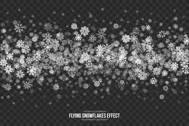Efecto de copos de nieve volando Vector Premium