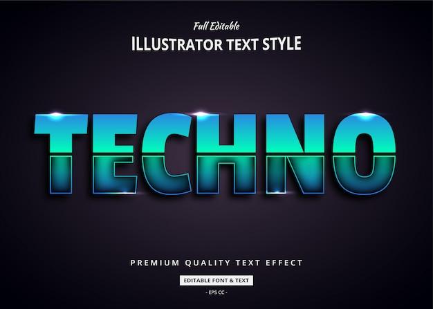 Efecto de estilo de texto 3d techno future Vector Premium