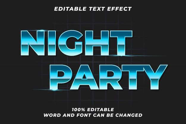 Efecto de estilo de texto de fiesta nocturna Vector Premium