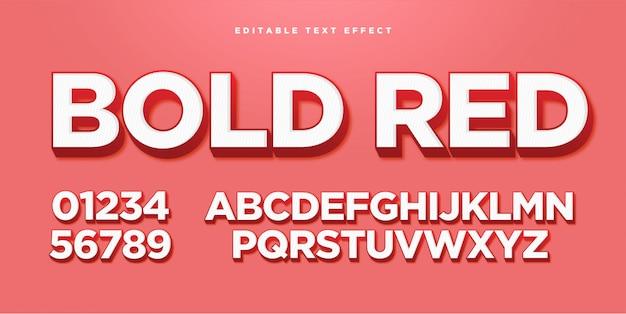 Efecto de estilo de texto en negrita rojo 3d Vector Premium