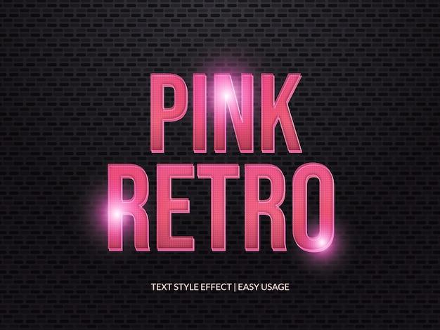 Efecto de estilo de texto retro 3d con textura y degradado rosa Vector Premium