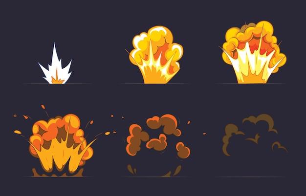 Efecto de explosión de dibujos animados con humo. efecto boom, explosión de flash, bomba de cómic. Vector Premium