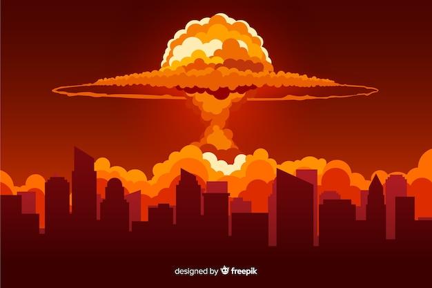 Efecto explosión nuclear diseño plano Vector Premium