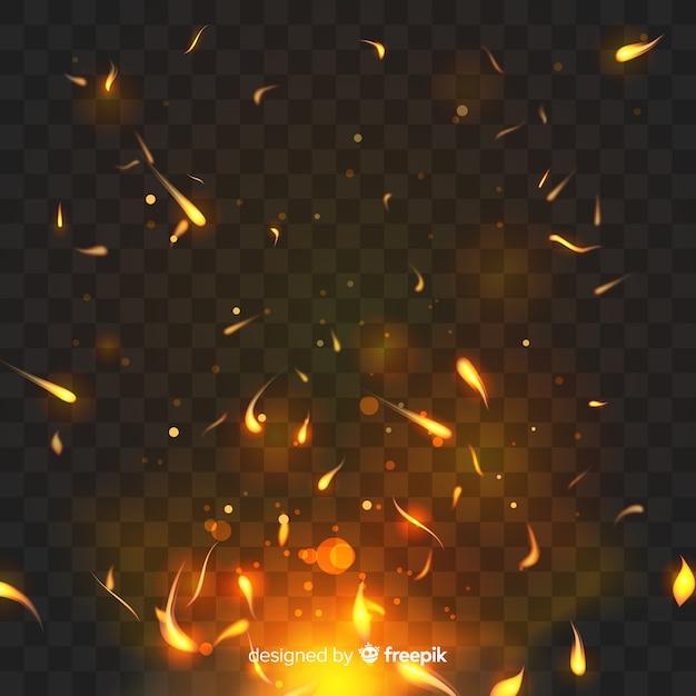 Efecto de fuego brillante con fondo transparente. vector gratuito