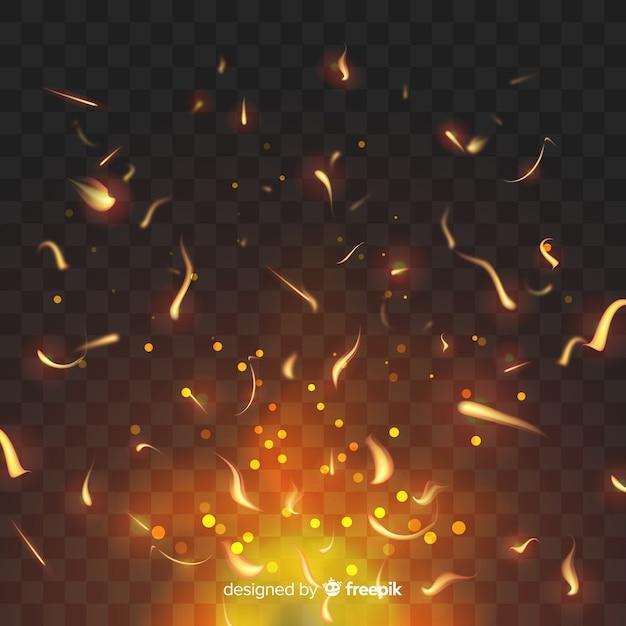 Efecto de fuego brillante sobre fondo transparente. vector gratuito