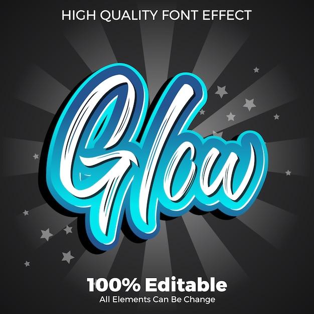 Efecto de fuente editable de estilo de texto de pincel brillante Vector Premium
