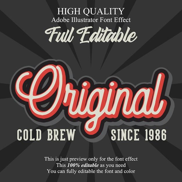 Efecto de fuente de tipografía editable guión original vintage Vector Premium