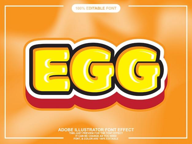 Efecto de fuente de tipografía editable lindo texto de huevo negrita Vector Premium