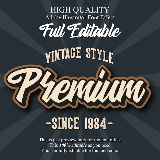 Efecto de fuente de tipografía editable premium script retro Vector Premium