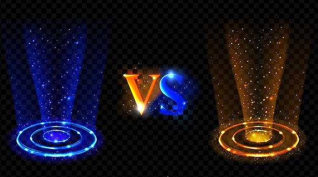 Efecto holograma vs círculos. neón versus rayos redondos vector gratuito