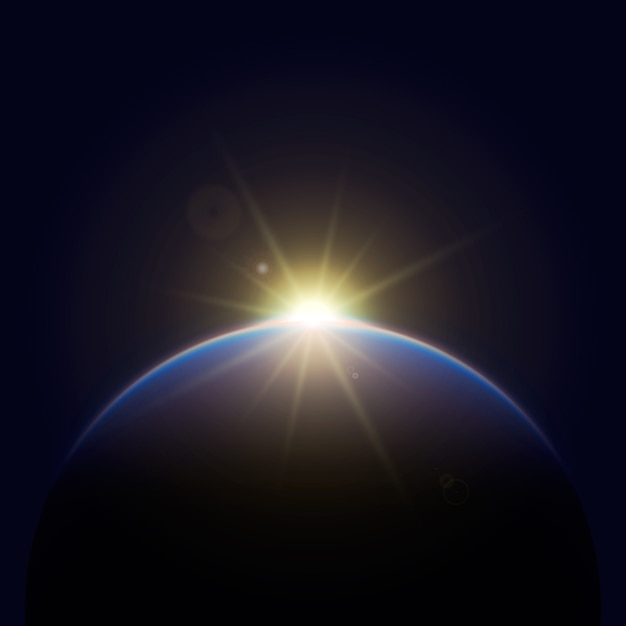 Efecto de luz de amanecer de tierra brillante vector gratuito