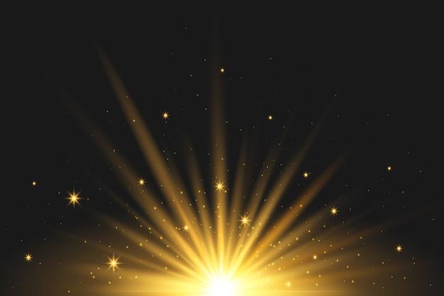 Efecto de luz con brillante amanecer vector gratuito