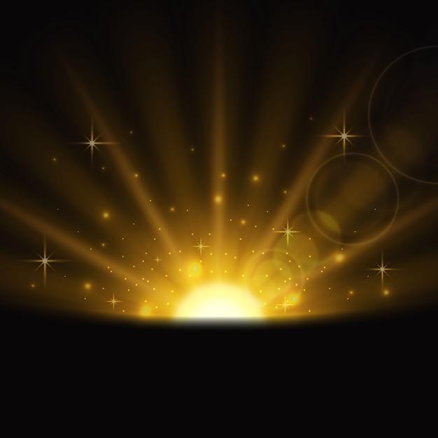 Efecto de luz brillante del amanecer vector gratuito