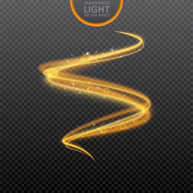 Efecto de luz dorada sobre transparente con destellos realistas. Vector Premium