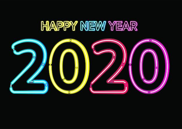 Efecto De Luz De Neón Navidad Feliz Año Nuevo 2020