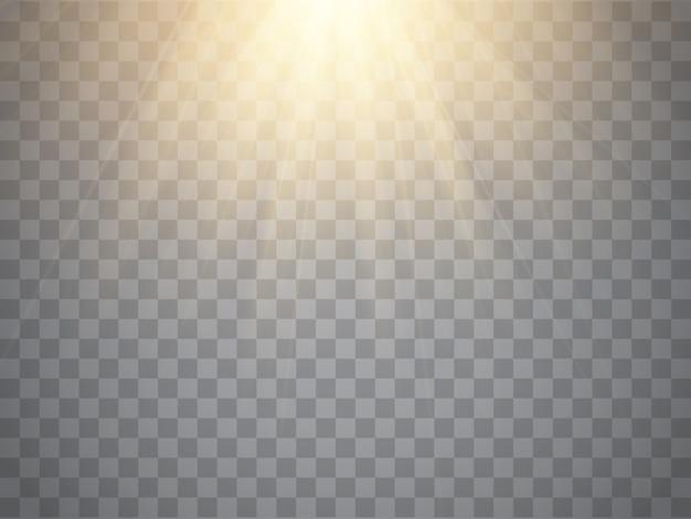 Efecto de luz, rayos de sol, vigas sobre fondo transparente. Vector Premium