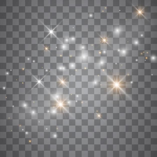 Efecto de luz resplandor estrellas. destellos sobre fondo transparente. patrón abstracto de navidad. brillantes partículas de polvo mágico. Vector Premium