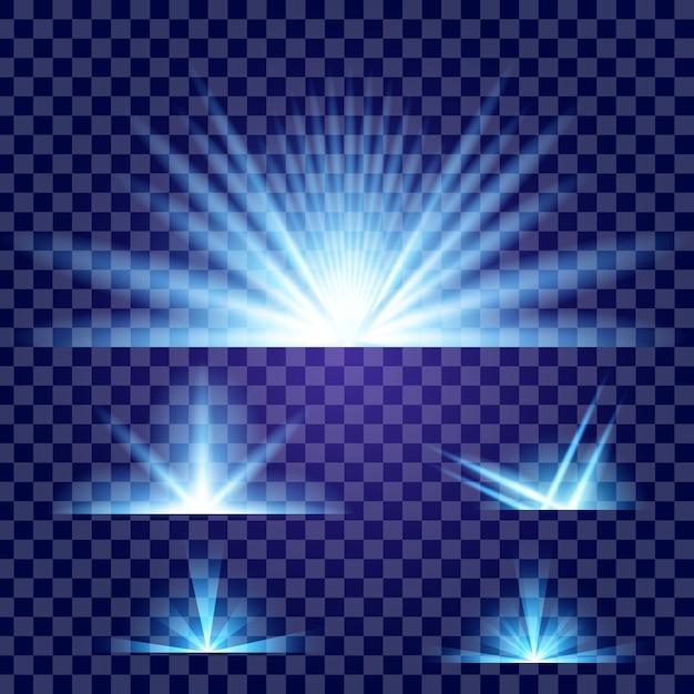 Efecto de luz resplandor estrellas estalla con destellos. Vector Premium