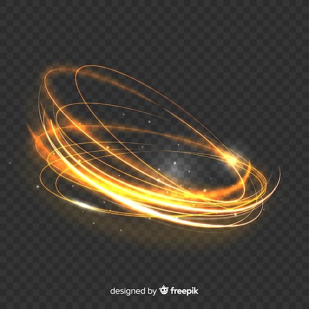 Efecto mágico de remolino de luz dorada vector gratuito