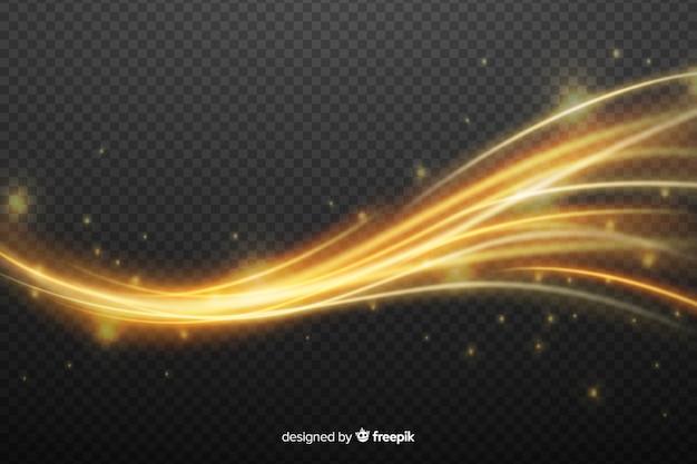 Efecto de onda de luz dorada sin fondo vector gratuito