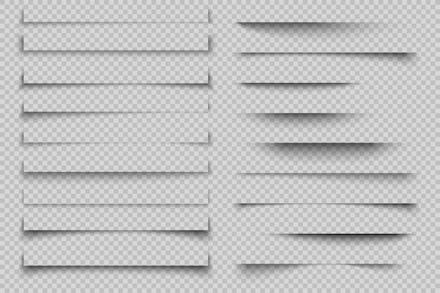 Efecto de sombra de papel. sombras de página realistas transparentes con esquinas, sombras de flyer de póster de banner con esquinas. modelo Vector Premium