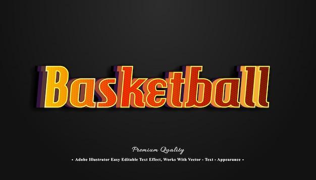 Efecto de texto 3d de baloncesto Vector Premium