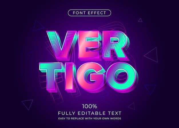 Efecto de texto 3d vibrante moderno. estilo de fuente editable Vector Premium