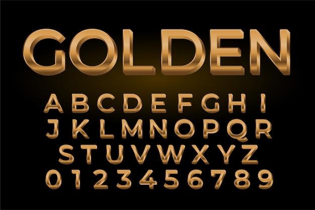 Efecto de texto brillante dorado premium conjunto de alfabetos y números vector gratuito