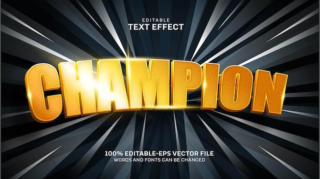 Efecto de texto de campeón vector gratuito