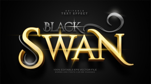 Efecto de texto de cisne negro vector gratuito