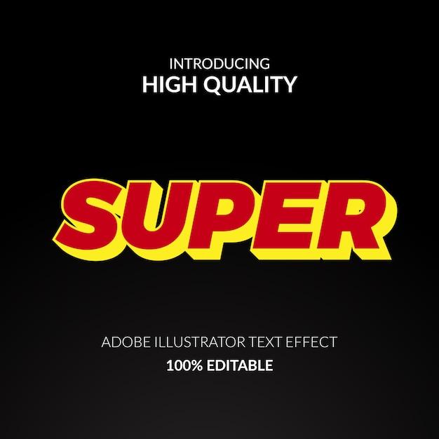 Efecto de texto editable 3d súper rojo y amarillo para texto fuerte y audaz Vector Premium